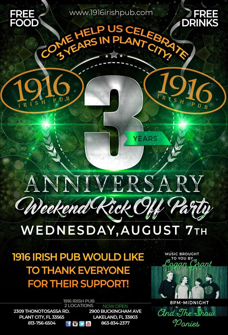 3 Year Anniversary – Weekend Party: August 7th-12th – 1916 Irish Pub