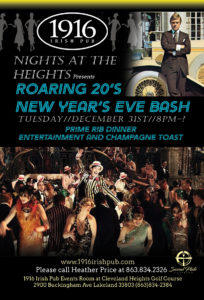 Roaring 20's NYE Party Prime Rib Dinner SPF60 Band 9pm-1am @ 1916 Irish Pub Lakeland